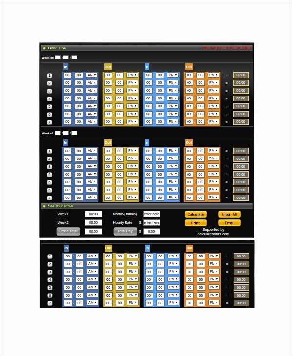 Time Card Calculator Bi Weekly Fresh 20 Timesheet Calculators