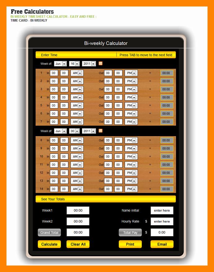 Time Card Calculator Bi Weekly Luxury 5 Timeclock Calculator