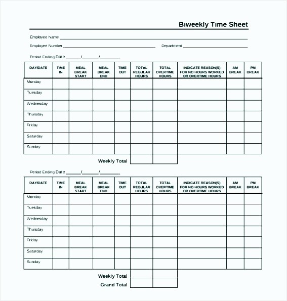 Time Card Calculator Bi Weekly Luxury 6 Biweekly Timesheet Calculator with Lunch Break