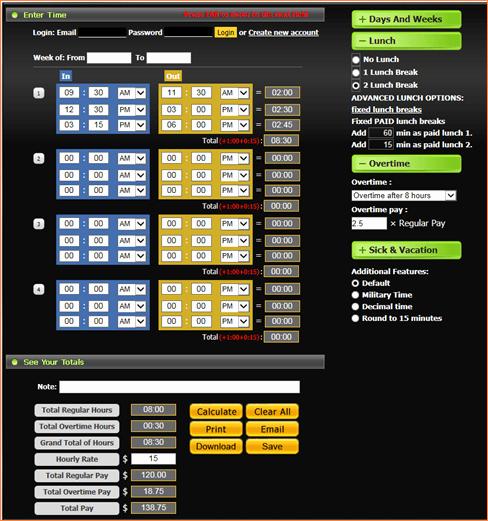 Time Card Calculator Bi Weekly Luxury Free Time Card Calculator Dc Design
