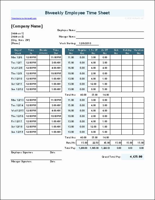 Time Card Calculator Bi Weekly Luxury Free Time Card Calculator