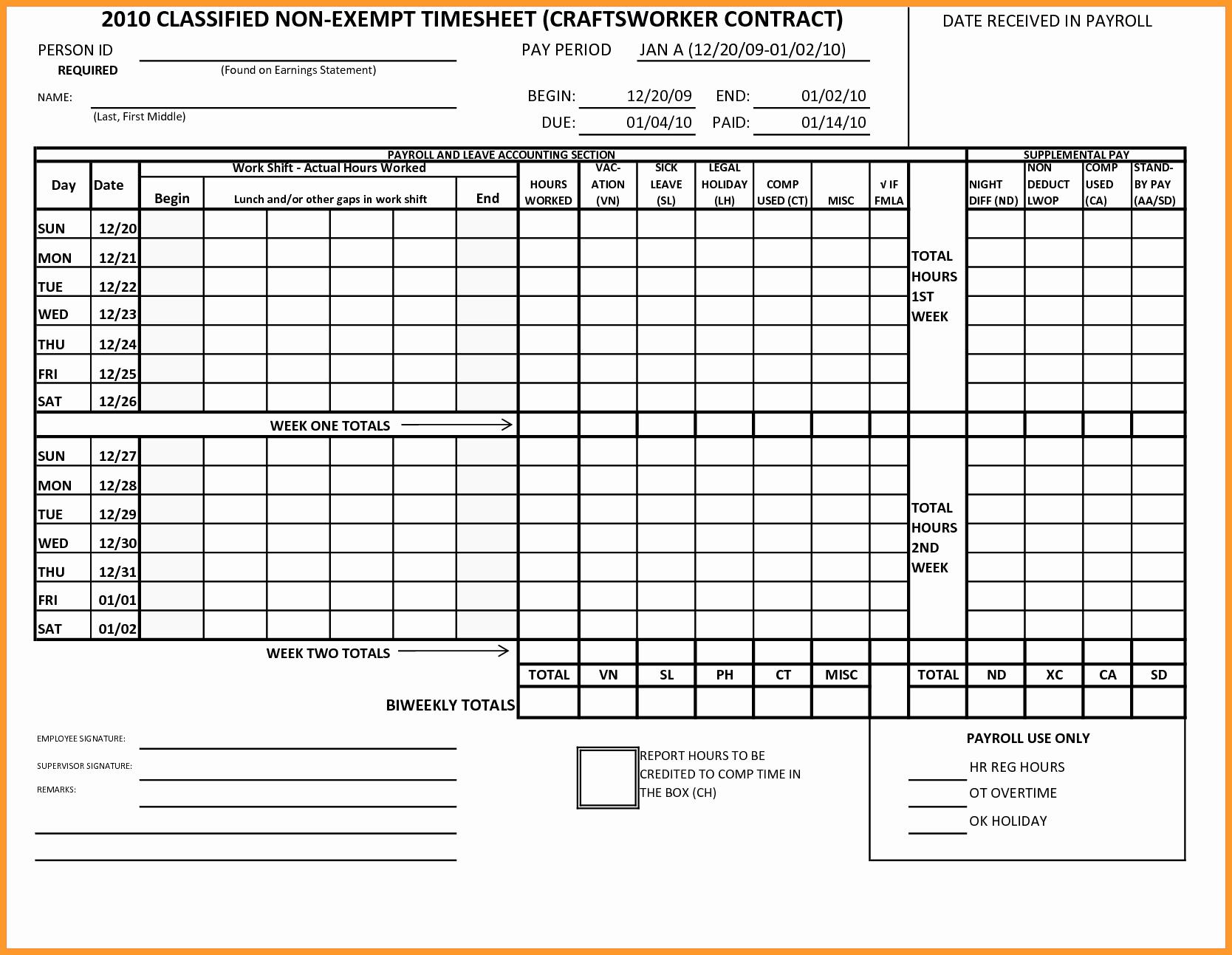 Time Card Calculator Bi Weekly Unique 7 8 Time Card Calculator with Lunch Break