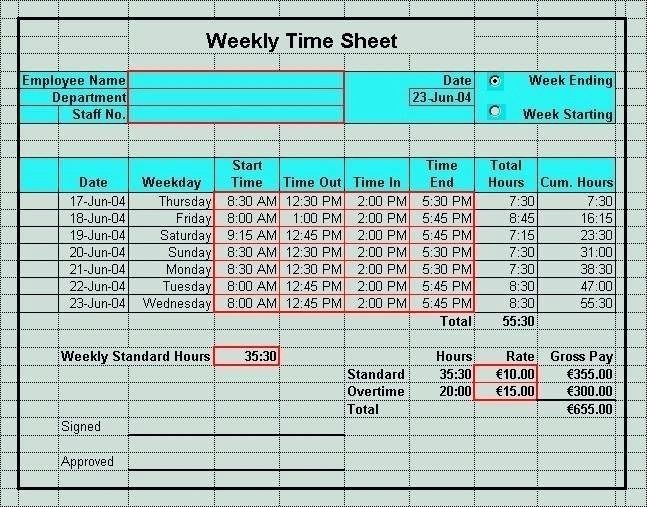 Time Card Template for Excel Awesome Timecard In Excel with formulas Excel Time Sheet form