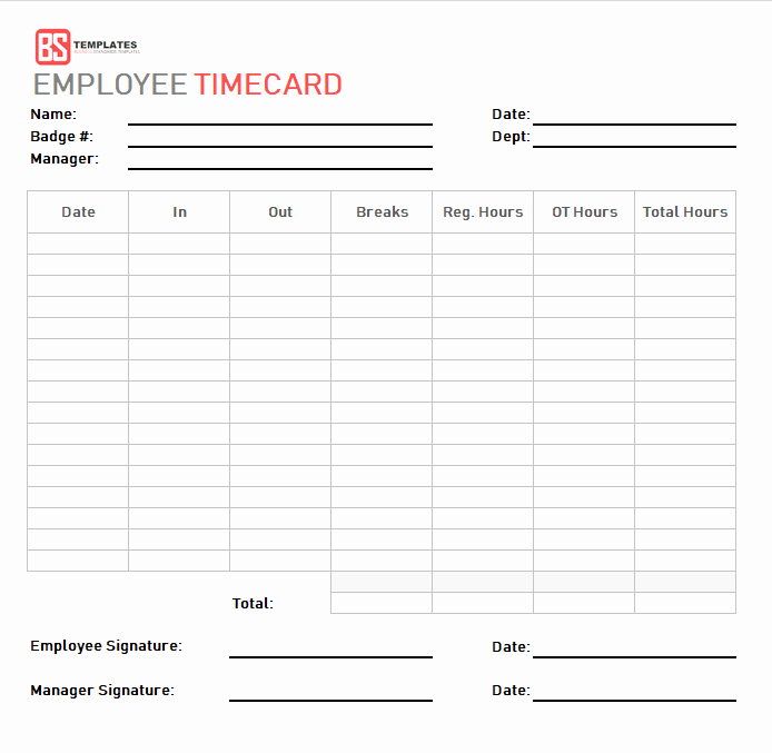 Time Card Template for Excel Elegant Time Card Template – Free Time Sheet Template In Excel