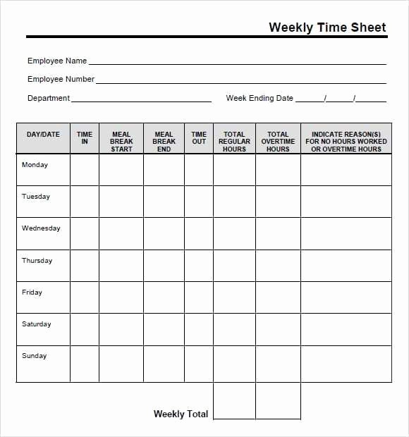 Time Card Template for Excel Lovely 9 Free Printable Time Cards Templates Excel Templates