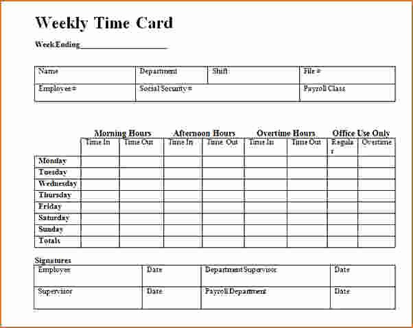 Time Card Template for Excel Lovely Timecard Template Excel
