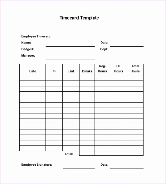 Time Card Template for Excel Luxury 5 Excel Time Card Template Exceltemplates Exceltemplates