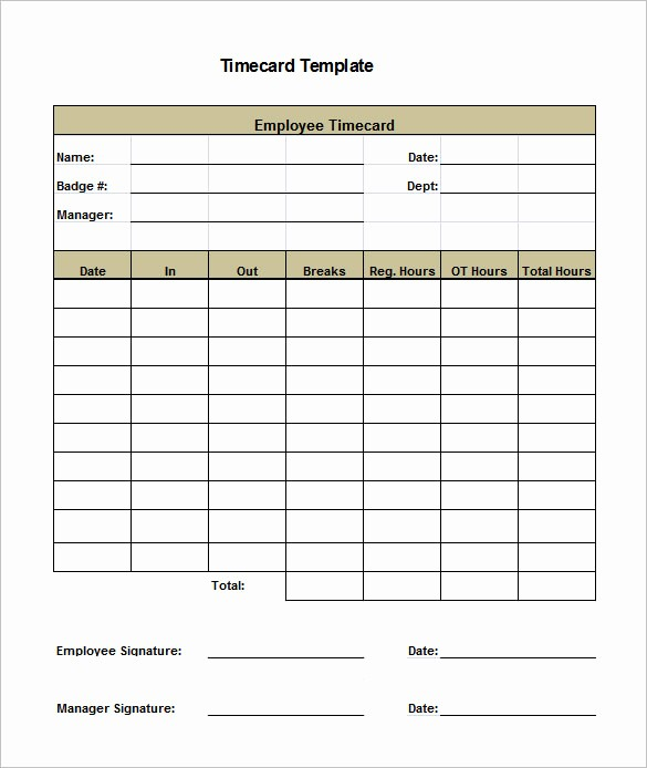 Time Card Template for Excel Unique 7 Printable Time Card Templates Doc Excel Pdf