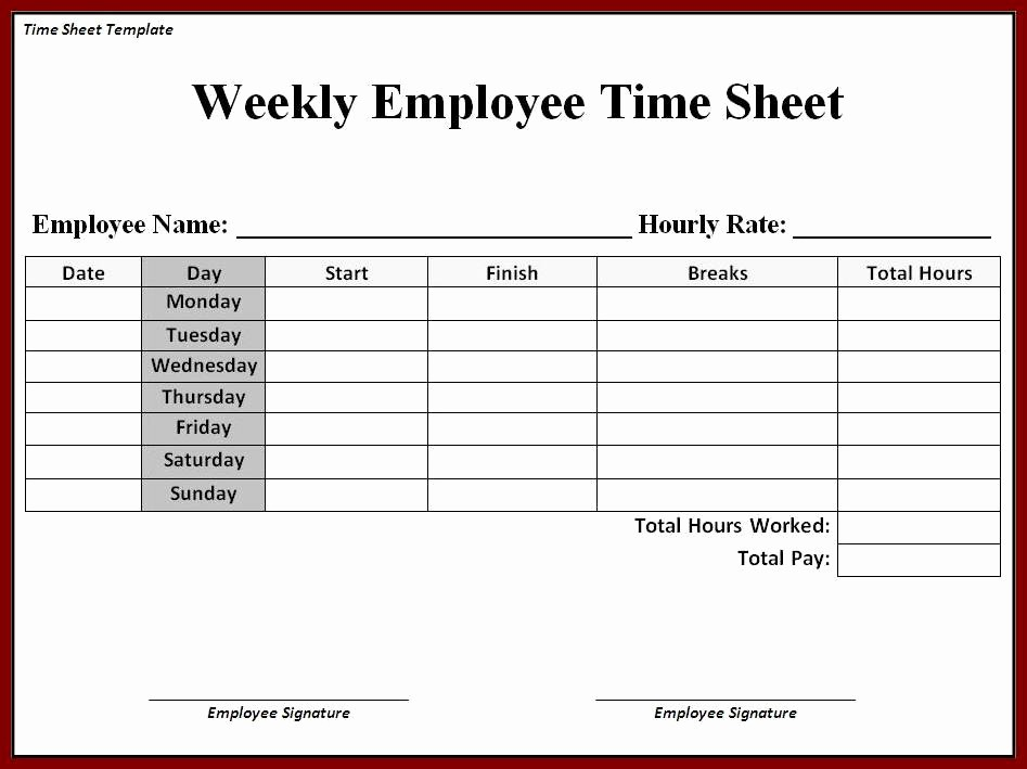Time Card Template for Excel Unique Time Card Templates Free Printable Printable Timesheet