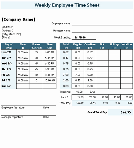 Time Card Template for Excel Unique Time Sheet Template for Excel Timesheet Calculator