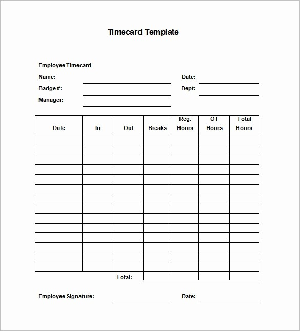 Time Card Template for Word Elegant Time Cards Templates Invitation Template
