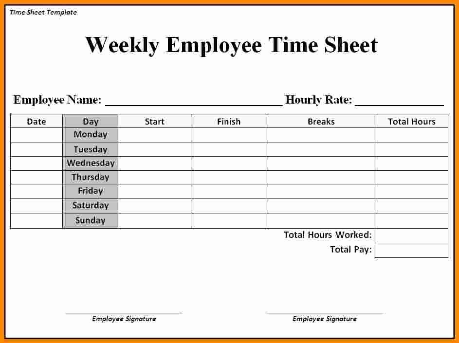 Time Card Template for Word Fresh 12 Free Printable Weekly Timesheet Template