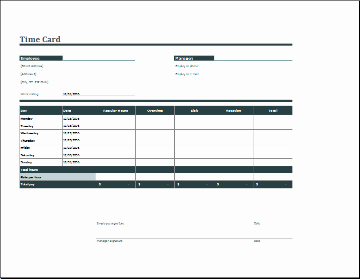 Time Card Template for Word Lovely Employee Daily Time Card format