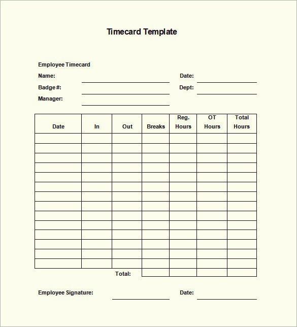 Time Card Templates Free Printable Fresh Printable Monthly Time Card Template to Pin On