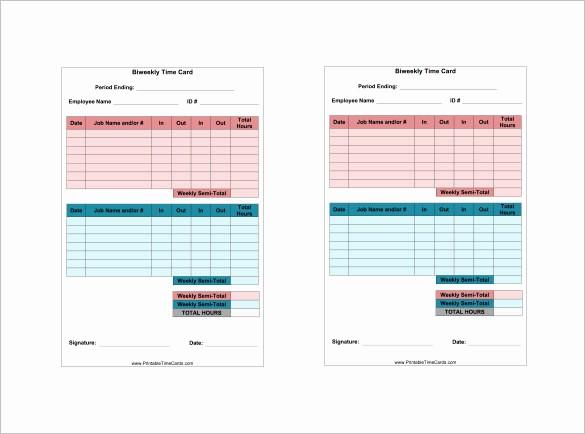 Time Card Templates Free Printable Inspirational 7 Printable Time Card Templates Doc Excel Pdf