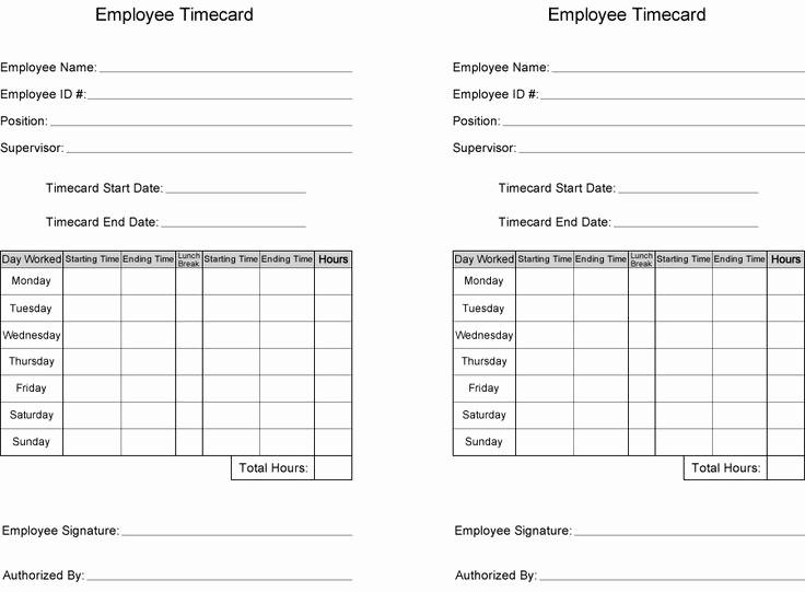 Time Card Templates Free Printable Inspirational Free Time Card Template