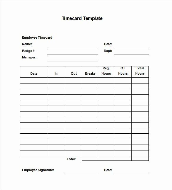 Time Card Templates Free Printable Unique 7 Printable Time Card Templates Doc Excel Pdf
