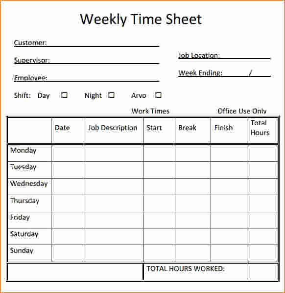 Time Card Templates Free Printable Unique 7 Printable Timesheet