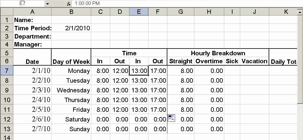 Time Clock Correction form Template Awesome Build A Simple Timesheet In Excel Techrepublic