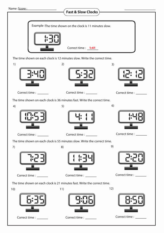 Time Clock Correction form Template Beautiful Fast & Slow Clocks Worksheet Printable Pdf