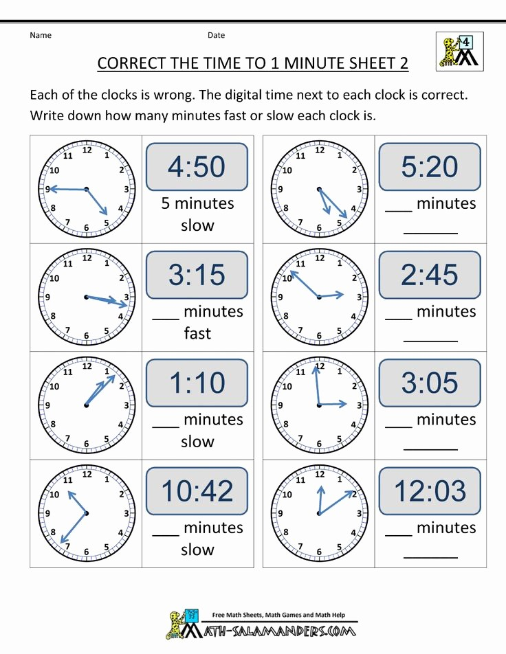 Time Clock Correction form Template Best Of Clock Worksheets Correct the Time From Math Salamanders