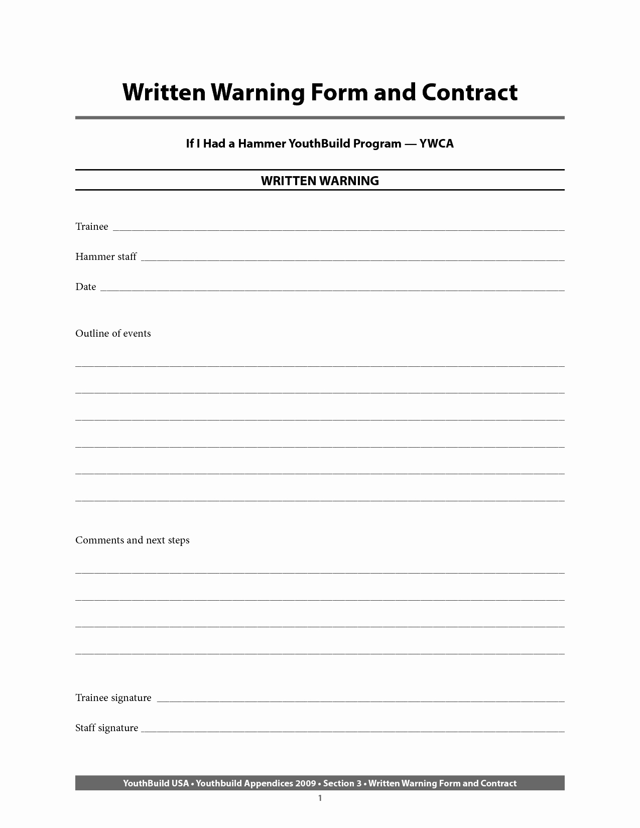 Time Clock Correction form Template Luxury Written Warning Template