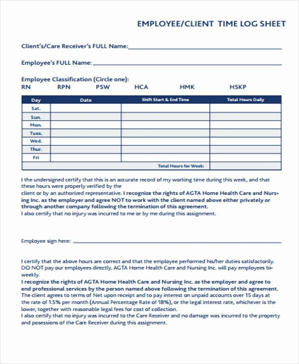 Time Log Sheet for Employees Awesome 22 Time Log Templates