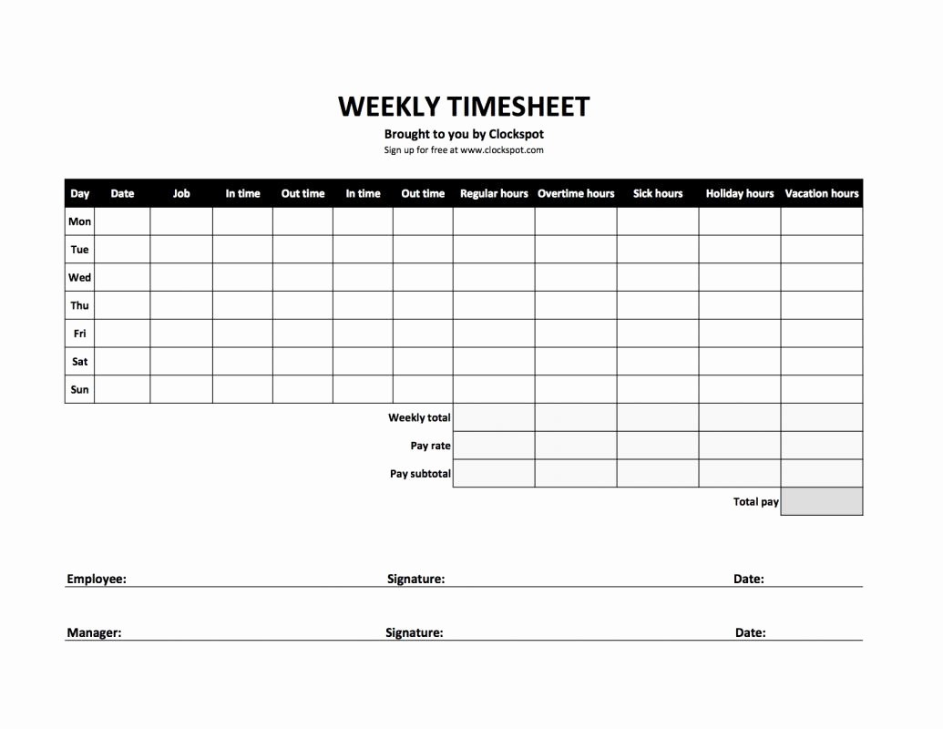 Time Log Sheet for Employees Awesome Bi Weekly Timesheet Template
