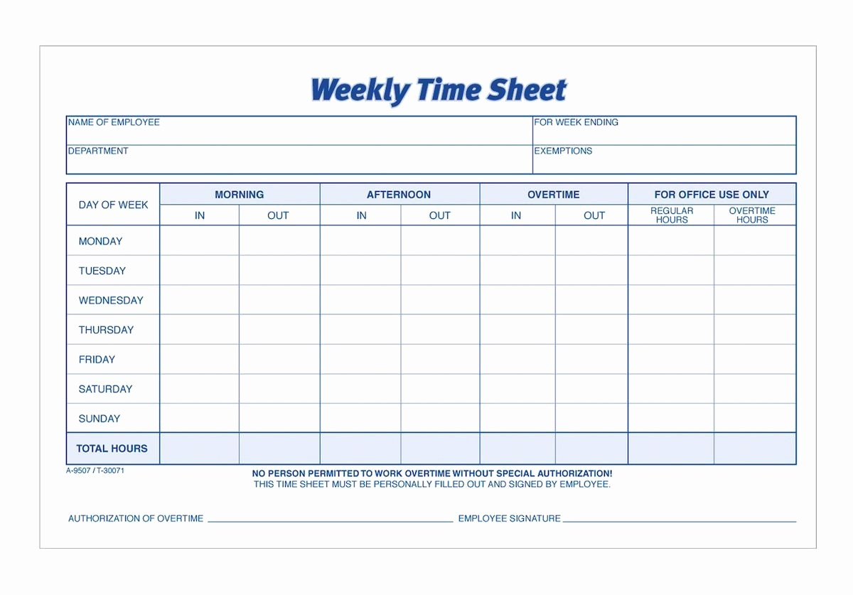 Time Log Sheet for Employees Beautiful Adams Time Sheet Weekly 2 Part Carbonless 100 St Pk