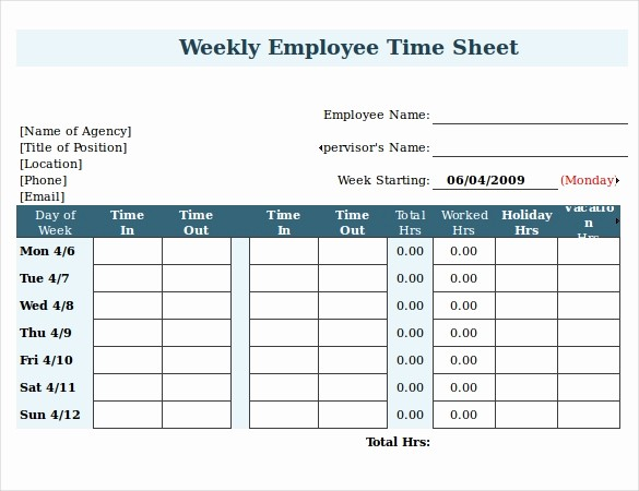 Time Log Sheet for Employees Elegant 22 Employee Timesheet Templates – Free Sample Example