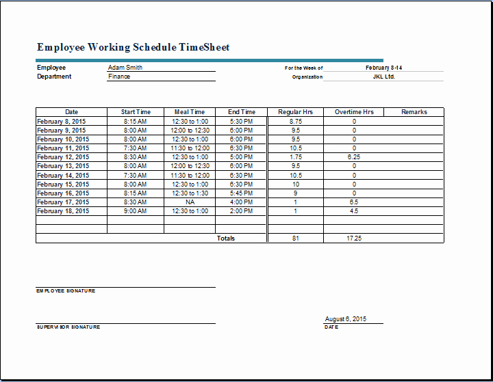 Time Log Sheet for Employees Lovely Employee Working Schedule Time Sheet