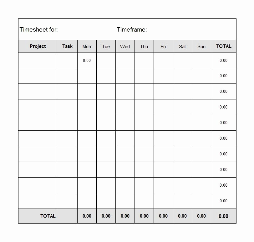 Time Log Sheet for Employees Unique 40 Free Timesheet Time Card Templates Template Lab