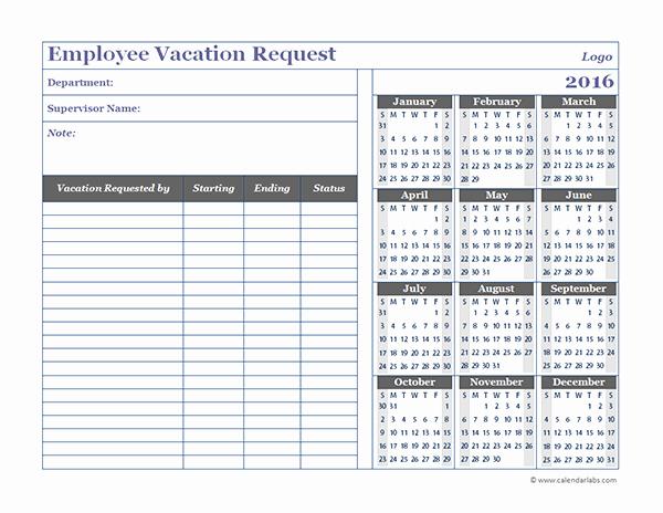 Time Off Calendar Template 2016 Beautiful 2016 Employee Time F Calendar Template