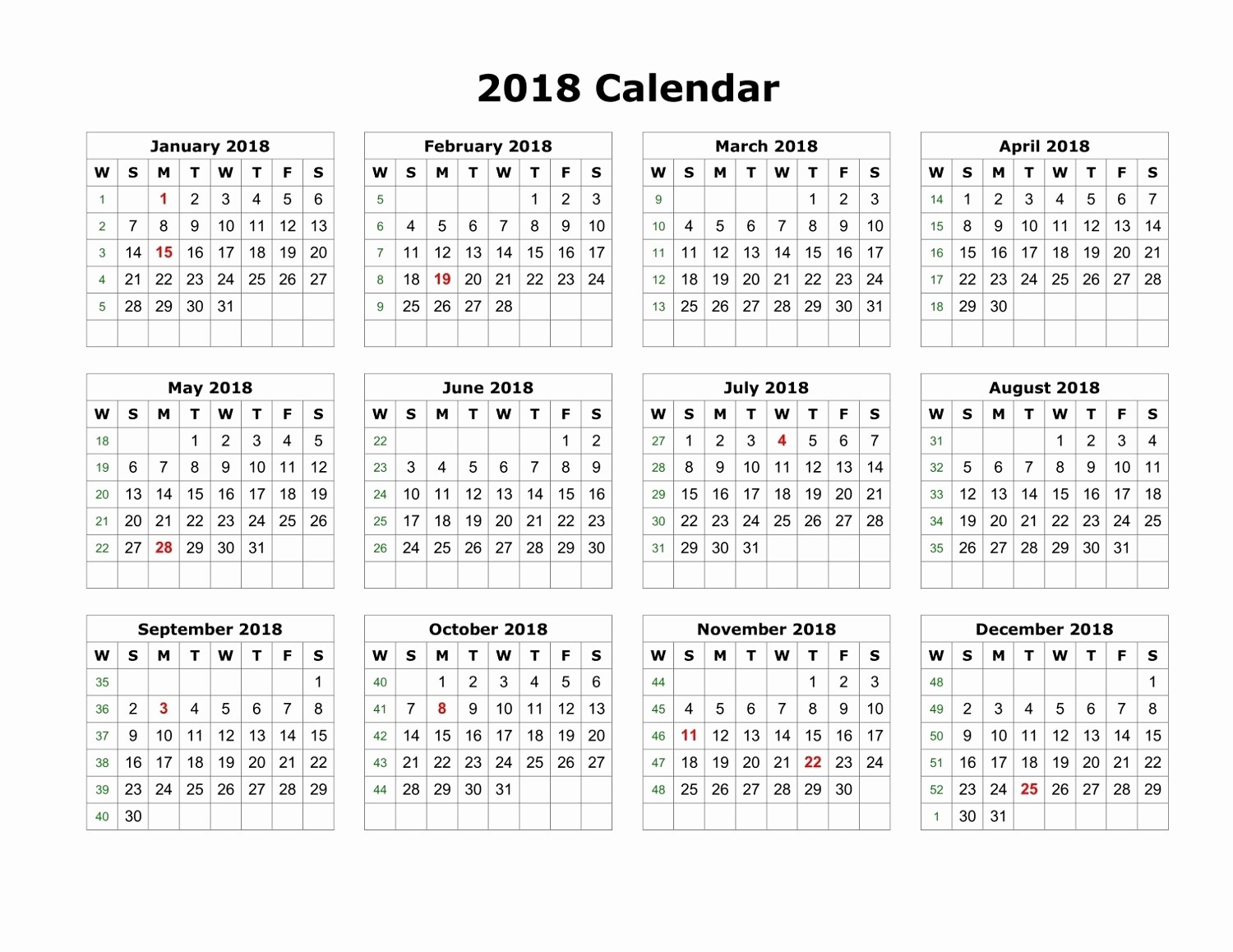 Time Off Calendar Template 2016 Beautiful Blank Printable Calendar 2018 Pdf – Printable Shelter