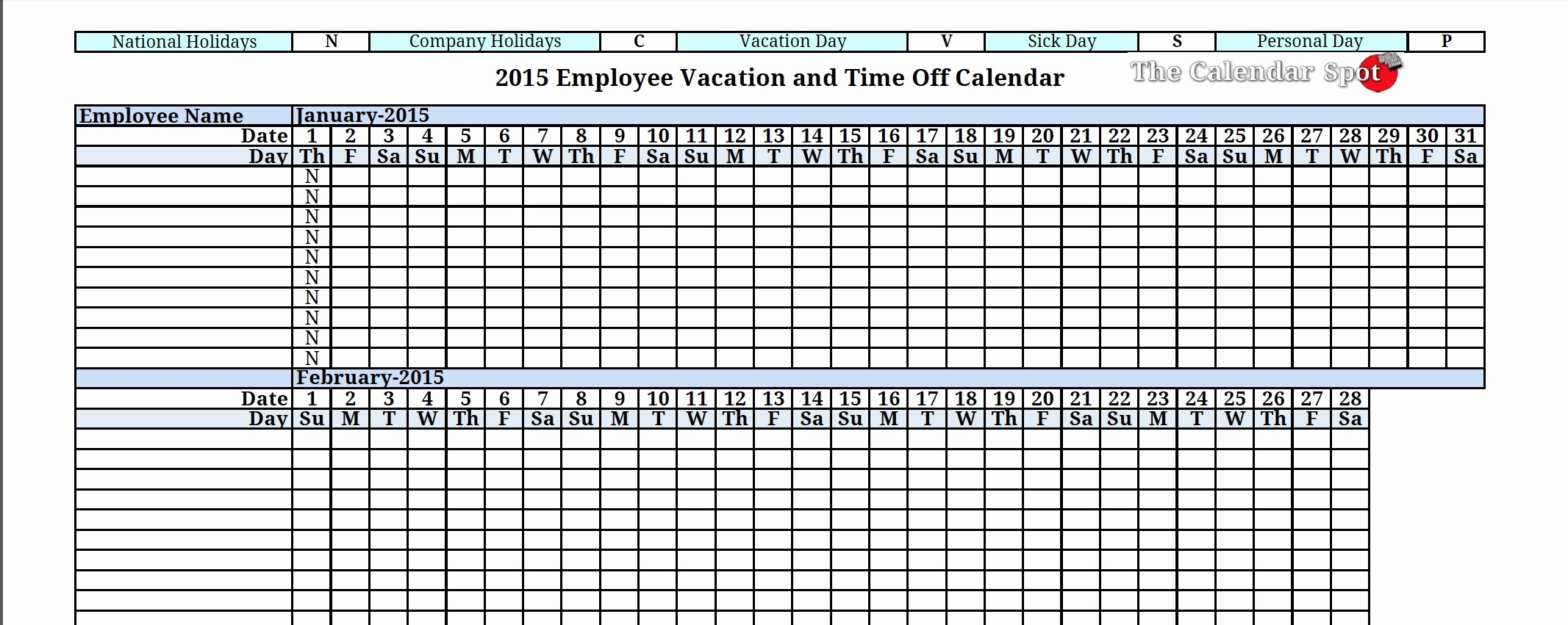 Time Off Calendar Template 2016 Beautiful Employee Time F Calendar 2016