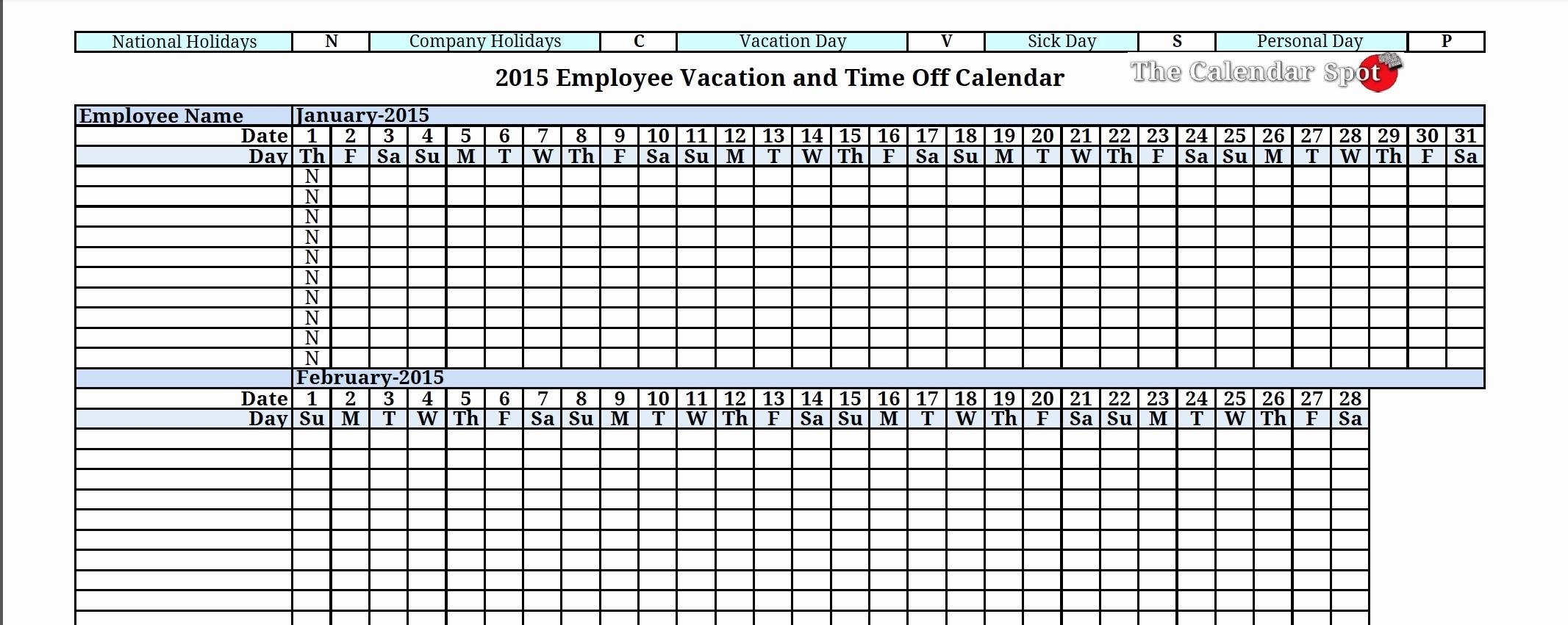 Time Off Calendar Template 2016 Beautiful Employee Time F Calendar 2016