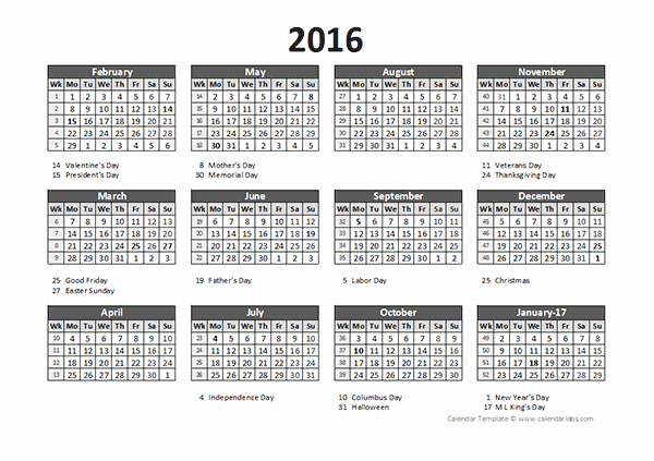 Time Off Calendar Template 2016 Best Of 2016 Accounting Calendar 5 4 4 Free Printable Templates