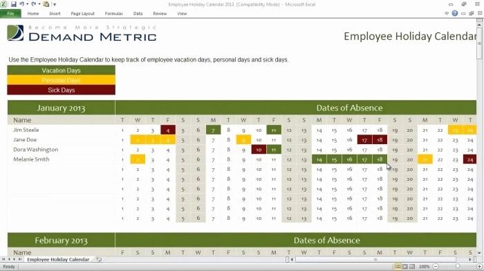 Time Off Calendar Template 2016 Fresh Employee Time F Calendar Template