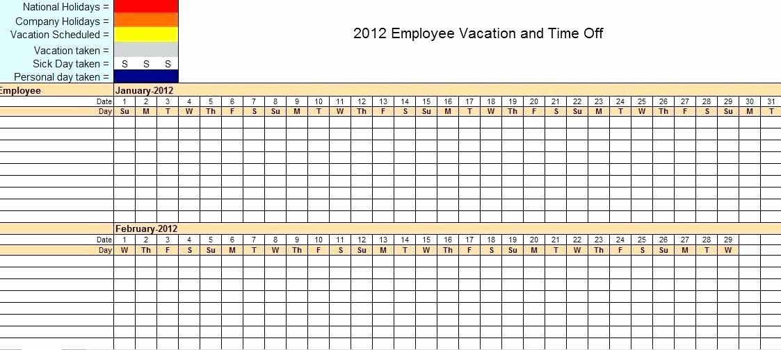 Time Off Calendar Template 2016 Fresh Staffing Calendar Template Employee attendance Tracker