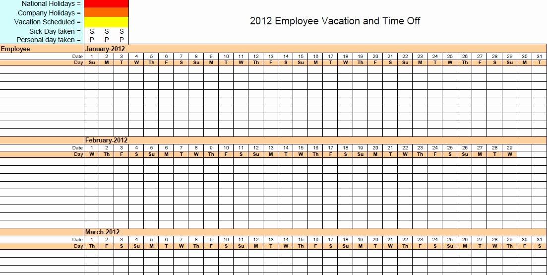 Time Off Calendar Template 2016 Inspirational Employee Time F Calendar Template Excel Free Calendar