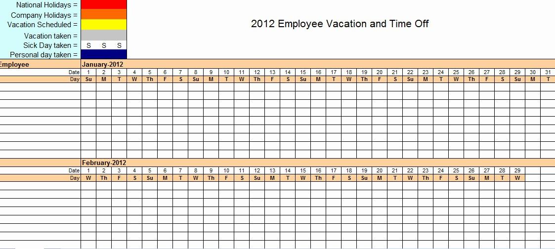 Time Off Calendar Template 2016 Lovely Employee Time F Calendar Template 2016