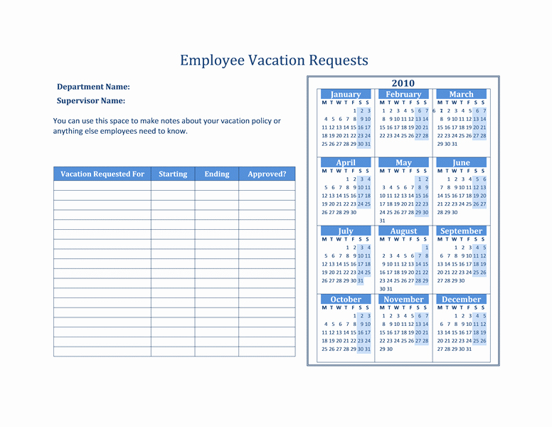 Time Off Calendar Template 2016 Lovely Free Vacation Request forms with Calendar