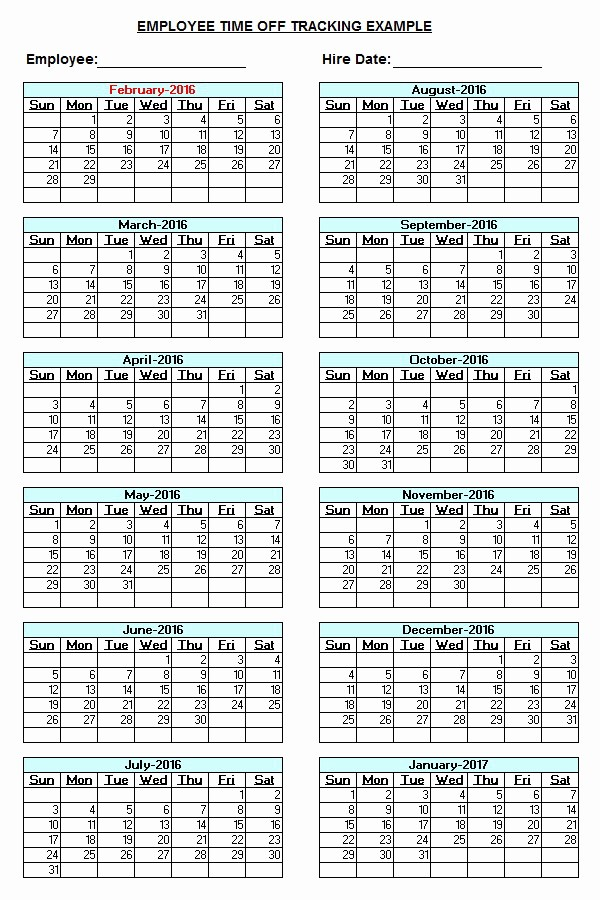 "Time Off Calendar Template 2016 New Search Results for ""printable Employee Vacation form"