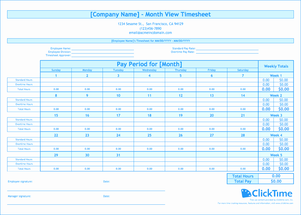 Time Tracking Excel Template Free Inspirational Free Monthly Timesheet Template