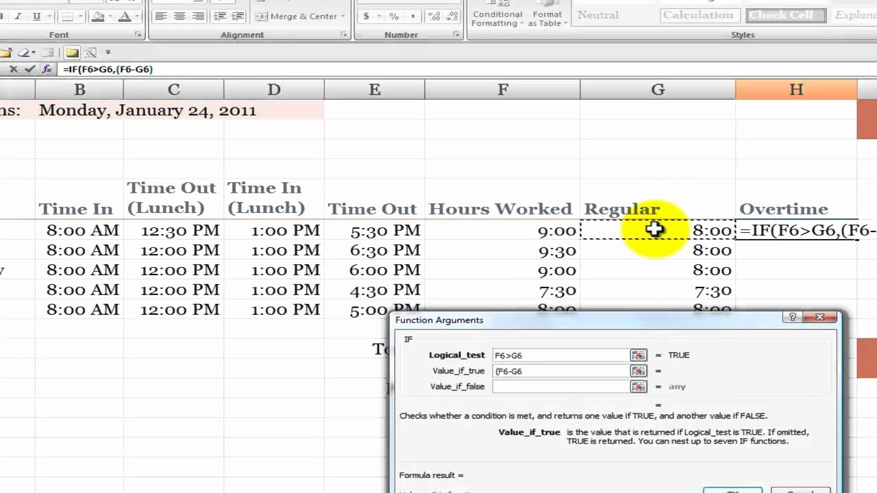 Timecard In Excel with formulas Beautiful How to Calculate Overtime Hours On A Time Card In Excel