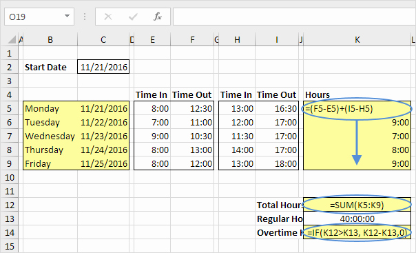Timecard In Excel with formulas Beautiful Time Sheet In Excel Easy Excel Tutorial