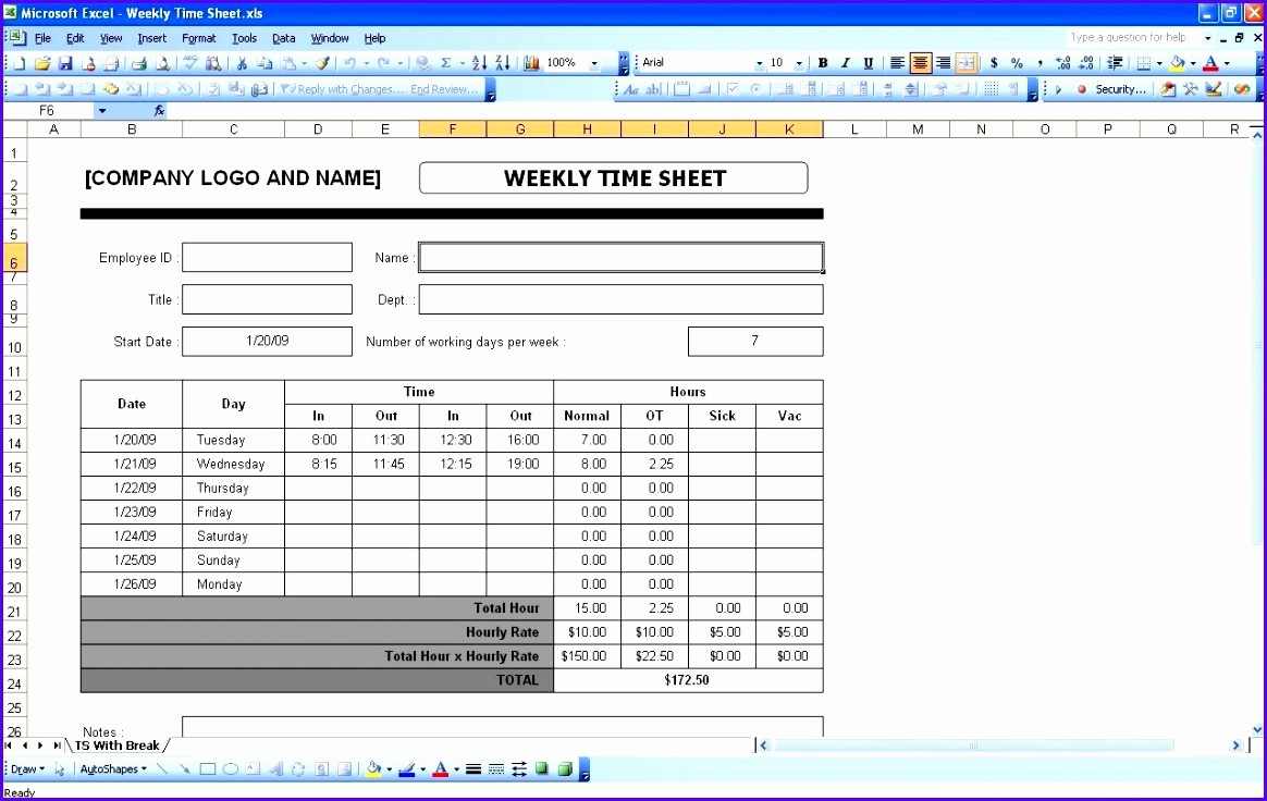 Timecard In Excel with formulas Inspirational 10 Timesheet Excel Template Exceltemplates Exceltemplates
