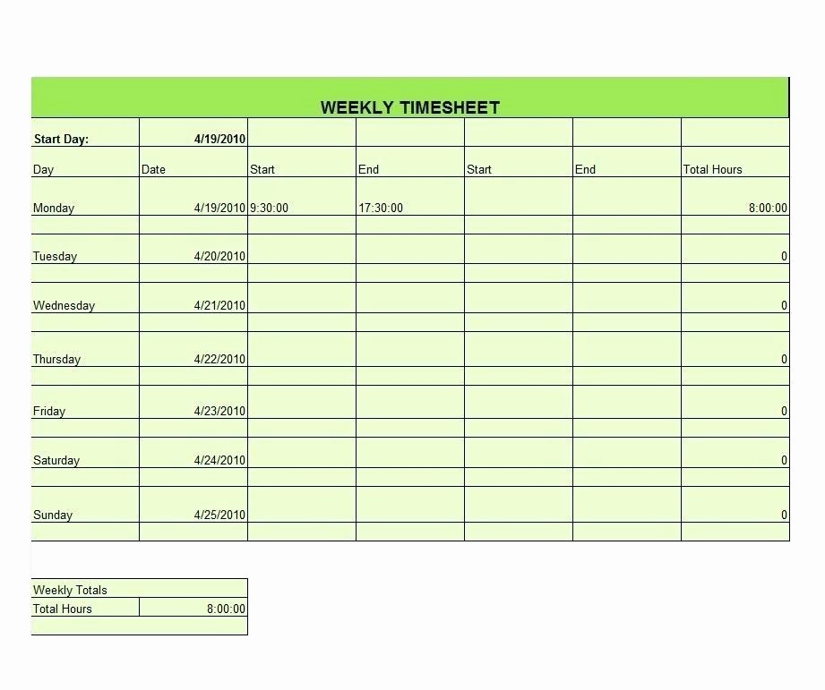 Timecard In Excel with formulas Inspirational Timecard Template Excel 2010 Excel Time Card Template