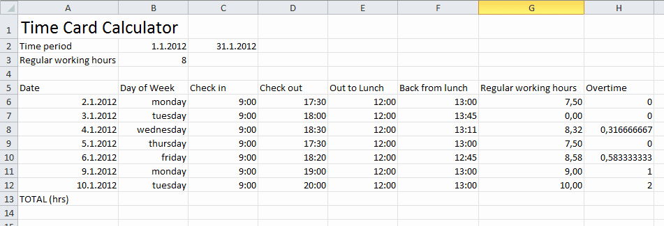Timecard In Excel with formulas Luxury How to Calculate Time In Excel with Lunch Break