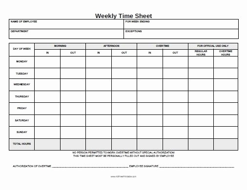 Timesheet Sign In and Out Fresh Free Printable Weekly Time Sheet
